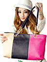 Erlen Kvinnors koreanska Style Trefärgad Skarvning toto / One Shoulder Bag (Sreen Color)