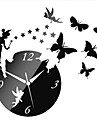 3D DIY Modern Style Angle Butterfly Acrylic Mirror Wall Clock