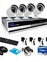 sinocam® nvr 4 canaux et 720p p2p kit de système de caméra de sécurité IP vidéo de soutien poussoir