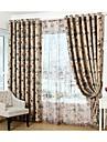Två paneler Rustik / Modern / Nyklassisistisk / Medelhavet / Europeisk Blommig/Botanisk Purpur / Röd Living Room Polyestergardiner