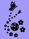 3D DIY Modern Style Butterfly Flowers Acrylic Mirror Wall Clock