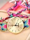 Mulan kvinnors gyllene fall kedjan tyg band kvarts armband klocka (blandade färger)