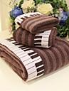 sensleep® 3pcs ensemble de serviettes jacquard, motif de piano, brun ou gris 100% coton, serviette de bain de lavage serviette& serviette de