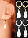 instyle 18k mignon plaqué platine or chunky perles synthétiques baissent pendre cadeau de boucles d'oreilles pour les femmes de haute qualité