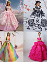 Prinsessa Klänningar För Barbie Doll Lila / Rosa Klänningar För Flicka doll Toy