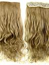 24 tums 120g lång värmebeständiga syntetfibrer sandiga blont lockigt klipp i hårförlängningar med 5 clips