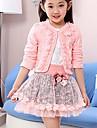fete de imprimare roz / mov set (strat&cămașă&fusta), gât drăguț rotund cu maneca lunga arc