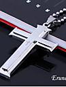 eruner®double argint titan oțel transversală biblie bijuterii colier