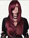 mörkröd fashionabla långa raka utmärkt party peruk med sidan bang