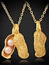 InStyle lyx söta jordnöts 18k guldpläterade örhängen strass kristall pärlor smycken för kvinnor av hög kvalitet