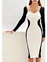 yuntuo®black și sexy despicare șold pachet de femei cu mâneci lungi alb rochie