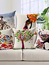 set om 5 färgstarka mönster bomull / linne dekorativa örngott