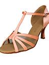 balsal satin övre rosa latinska dansskor praxis skor för kvinnor