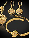 InStyle lyx AAA + zirconia kvinnor 18k guld platina blomma hängande halsband örhängen armband som hög kvalitet