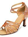 "2.95""  Women's Satin / Rhinestone Upper Ankle Strap Salsa / Latin Ballroom Shoe"