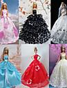 Prinsessa Klänningar För Barbie Doll Röd / Vit / Svart / Rosa / Blå
