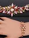 finare lyx aaa + cubic zirconia glänsande flerfärg armband 18k guld platina länk armring för kvinnor högkvalitativa