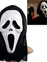 Vit Ghost Mask med Head Cover Scream Practical Joke Scary Cosplay Prylar för Halloween dräktparti