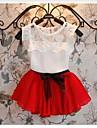 Fata lui Set Îmbrăcăminte Vară / Primăvară / Toamnă Amestec Bumbac / Meș Verde / Roșu