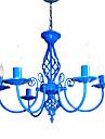 E14x5 albastru Culoare Candelabru Modern pandantiv lumină pentru dormitor Camera de zi