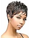 Capless vidskepelse färg extra kort hög kvalitet naturliga lockigt hår syntetisk peruk med sidan Hjälp
