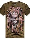 gât rotund 3d moda tigru animale barbati imprimat cu maneci scurte t-shirt
