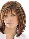 couleur de mélange capless longueur moyenne de haute qualité naturelle des cheveux perruque synthétique droite avec Bang complet
