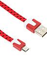 USB 2.0 Micro USB 2.0 Plat Tressé Câble Pour 100 cm Nylon