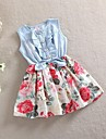 2015 Girls Summer casual sleeveless dress children cowboy dresses kids party princess dress girl 100%cotton flower dress