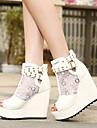 Chaussures Femme - Habillé / Soirée & Evénement - Noir / Blanc - Talon Compensé - Talons / Bout Ouvert - Sandales / Bottes - Synthétique