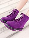 Chaussures Femme - Bureau & Travail / Décontracté - Noir / Violet / Rose - Talon Plat - Rangers - Bottes - Faux Cuir