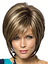 kvinnors fashionabla korta mörkbruna blonda blandade färg peruker med sido bang