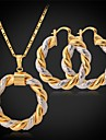 fina nya kvinnors 18k guld platina 2 tone cirkel hänge örhängen inställd basket fruar smycken av hög kvalitet