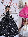 Princesse Robes Pour Poupée Barbie Blanc / Noir / Fuchsia Robes Pour Fille de Doll Toy