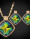 finare lyx glänsande mystic topas swa Strass sten hängande halsband 18K guldpläterad smycken för kvinnor av hög kvalitet