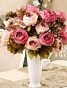 8 huvuden modern stil siden tyg simulering pion blommor multicolor frivilligt