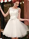 A-linie cu lopata scurta / mini dantela rochie de bal rochie cu panglica