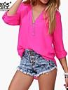 femei v-gât umflat multicolore de mânecă lungă poate rula cu maneca tricou sifon