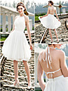 A-line/Princess Plus Sizes Wedding Dress - Ivory Knee-length Halter Chiffon