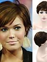 Mänskligt hår - Brun - Peruk - till Dam - Naturligt vågigt