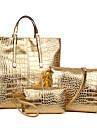 Dam PU / Patentläder Formell / Ledig / Kontor / Shopping Axelremsväska / Stor väska / bag set Guldfärgad / Silverfärgad / Svart