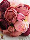 en bukett av 10 siden tyg simulering rosor brudbukett bröllop brud hålla blommor, fushia