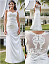 Lan Ting Sheath/Column Plus Sizes Wedding Dress - Ivory Floor-length V-neck Tulle/Lace