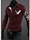 Lång ärm - T-Shirts ( Bomullsblandning )till MÄN Skjortkrage - Casual