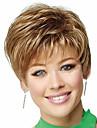 femmes moyennes dame brune droites courtes perruques de cheveux synthétiques