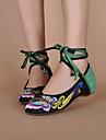 Pantofi pentru femei - Pânză - Toc Plat - Pantofi pe Gleznă - Pantofi Fără Toc - Casual - Negru / Roșu
