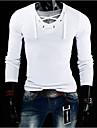 Lång ärm - T-Shirts ( Bomullsblandning )till MÄN V-ringad - Casual