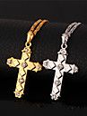 U7 söta latin kors hängande krucifix 18k guld platina hänge halsband smycken för kvinnor av hög kvalitet