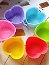 couleur silicone moule à cake en forme de coeur (1pcs) (couleur aléatoire)