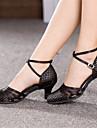 Chaussures de danse (Noir) - Non personnalisable - Gros talon - Satin - Danse latine